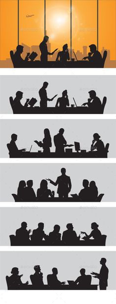 #Business People - #silhouettes #people #characters #isolated #illustration #vector #template #design #debate #manager #meeting #office