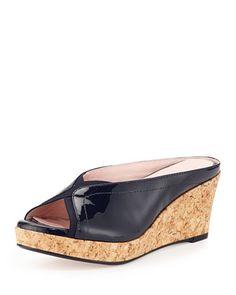 Selinda Cork-Wedge Leather Slide Sandal, Navy by Taryn Rose at Neiman Marcus.
