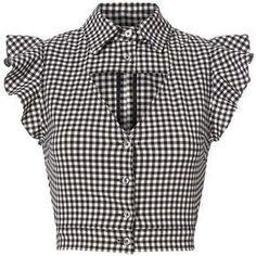 This gingham cropped blouse features a standard collar with ruffled cap sleeves and a triangular cutout at bust. In black/white. Black Plaid Shirt, Gingham Shirt, Black Blouse, Plaid Shirts, White Plaid, Crop Blouse, Crop Shirt, Shirt Blouses, Frill Blouse