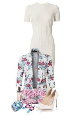 Floral Blazer by sarahguo on Polyvore featuring polyvore fashion style Helmut Lang LE3NO Jimmy Choo Adrianna Papell Alexis Bittar Miu Miu Calvin Klein clothing