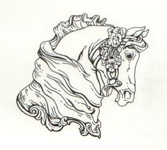 1000+ images about Coloring Pages: Advanced Carousel Horses on ...