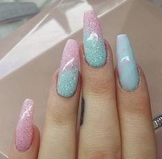 Unicorn Nails on fleek Nails Yellow, Pink Nails, My Nails, Simple Acrylic Nails, Simple Nails, Gorgeous Nails, Pretty Nails, Easter Nails, Super Nails