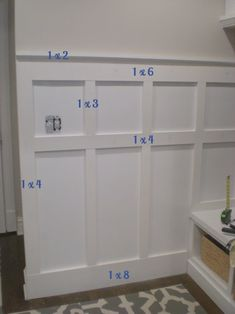 Home Remodeling Diy board and batten with board sizes - Hello! I'm back with an update on our board and batten wall, and I'm excited to report that it is about done! I thought it might be helpful to share some details on how we did our … Home Remodeling Diy, Home Renovation, Kitchen Remodeling, Home Improvement Projects, Home Projects, Appartement Design, Young House Love, Board And Batten, Home Living