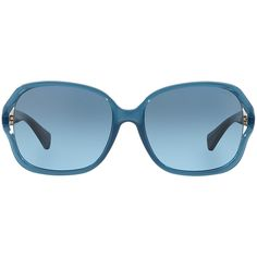 Coach Hc8121 59 L095 Carroll Blue Square Sunglasses ($178) ❤ liked on Polyvore