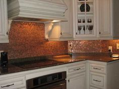 17 Penny Projects Pennies Kitchen backsplash and Kitchen design