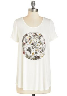 Horoscoping it Out Tee - Jersey, Sheer, Knit, White, Multi, Novelty Print, Casual, Short Sleeves, Scoop, Mid-length