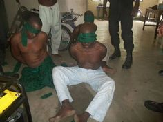 Photos Of Blindfolded Boko Haram Suspects Arrested By Soldiers In Cameroon