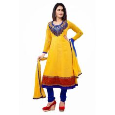 Eid Special Designer Yellow & Blue Unstitched Anarkali Suit-1007(ST-Glossy)karishma