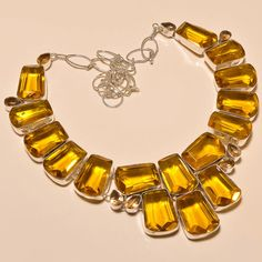 FACETED CITRINE TOPAZ OUTSTANDING .925 SILVER NECKLACE #Handmade #Choker