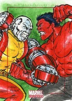 2014 Marvel Universe • Colossus vs Red Hulk • Sketch Card by Cezar Razek