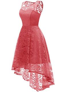 9225dff183a MUADRESS Women s Vintage Floral Lace Sleeveless Hi-Lo Cocktail Formal Swing  Dress
