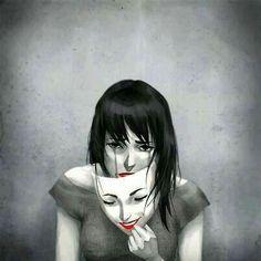 Sad face happy mask