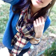 This plaid blanket scarf, available at the sandyseaturtle etsy shop, absolutely has to be my favorite. It's basic, and it paired great with my simple denim shirt and boots this brisk fall morning  | #sandyseaturtle #getsandy #fall #fashion #blanketscarf #scarf #cold #weather #basic #navy #blue #red #plaid #tartan #ootd | #bangles on my wrist are also in the shop:)