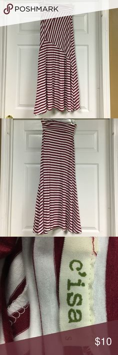 C'isa long striped skirt C'isa long burgundy/white striped skirt C'isa Skirts