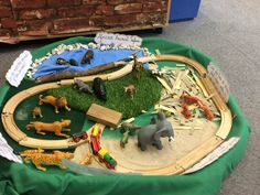 EYFS Handa's Surprise small world animal safari Eyfs Activities, Animal Activities, Preschool Activities, Handas Surprise, Safari Crafts, Diy Crafts For Kids Easy, Tuff Tray, African Theme, Small World Play