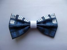 This is a blue and white hair bow, featuring a pattern based on the Doctor's T.A.R.D.I.S.