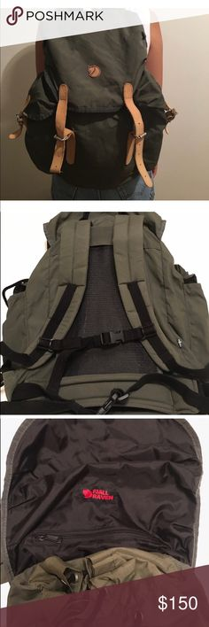 Fjall Raven backpack Army green Fjall Raven backpack in G1000 heavy duty with leather details.  Lightly  used few times. Generous size side pockets with padded shoulder straps for comfort. Fjall Raven Bags Backpacks