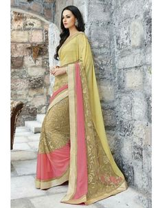 Amazing Beige and Coral Pink #Saree