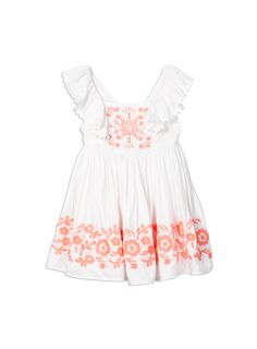 pumpkin patch neon embroidered dress
