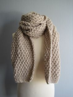Chunky scarf knit knitted quality unisex by woolpleasure on Etsy