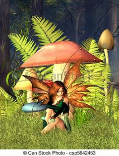 Stock Illustration - Woodland Mushroom Fairy with forest - stock illustration, royalty free illustrations, stock clip art icon, stock clipart icons, logo, line art, pictures, graphic, graphics, drawing, drawings, artwork