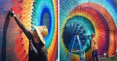 Kaleidoscopic Street Art By Douglas Hoekzema - Miami-based artist Douglas Hoekzema, also known as Hoxxoh, creates incredibly beautiful kaleidoscopic murals. By layering different colored continuo. 3d Street Art, Murals Street Art, Art Mural, Yarn Bombing, Graffiti, Esoteric Art, Inspiration Art, Art Archive, Outdoor Art