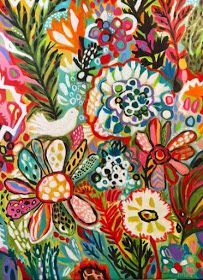 Original Bohemian Bird Painting 30 x 40 Karen Fields Bohemian Painting, Bohemian Art, Pop Art, Bohemian Flowers, Acrylic Flowers, Painting Inspiration, Painting & Drawing, Flower Art, Original Paintings