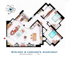 """This is a house-plan based in the apartments of Sheldon, Leonard and Penny from the TV show """"TBBT"""". It's an original hand drawed plan, in scale, colou. Sheldon, Leonard and Penny Apartment from TBBT Sheldon Leonard, Big Bang Theory, The Big Band Theory, Apartment Floor Plans, House Floor Plans, Leonard And Penny, Apartment Layout, Apartment Living, Home Tv"""