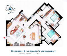 Plan de l'appartement de Big Band Theory Leonard Sheldon