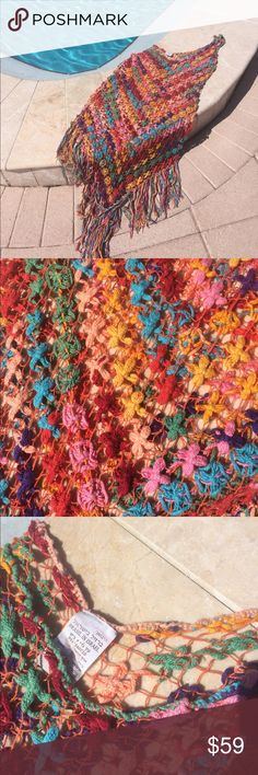 Brazil in Israel dress /swim cover up Handmade all cotton multicolored mini❤️gorgeous! Wear with cami and shorts or leggings. Alone as a dress is beautiful. Wear slip underneath or cover up. Fit loose on small. Medium to large good also. It slides over curves 🌺made in Israel. Stretchy crochet 🌺 Brasil in Israel Swim Coverups
