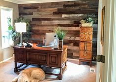 Reclaimed Wood Peel and Stick Weekend Walls in natural to transform the home office!