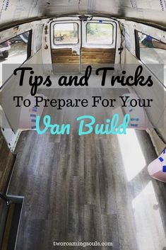 Tips and Tricks to Prepare for Your Van Build - tworoamingsouls Building your own campervan conversion can be a challenge, but we have some van build ideas that wi Van Conversion Layout, Cargo Van Conversion, Diy Van Conversions, Van Conversion Interior, Camper Van Conversion Diy, Campervan Conversions Layout, Van Conversion How To, Van Conversion Bed Ideas, Van Conversion With Bathroom