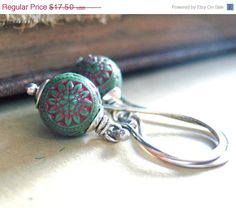 Bohemian earrings. Sterling silver vintage red and green lucite beads. On sale for $14.88 on Etsy. Shop: NovemberJewelry.
