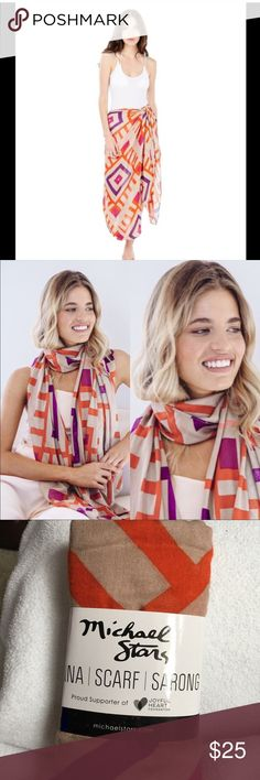 Michael Stars Ruana wrap Brand new Michael stars scarf wrap. Great for beach wrap, sarong, scarf, etc.. Beautiful and lightweight. Michael Stars Accessories Scarves & Wraps