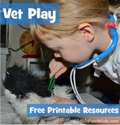 Playing Vet for Kids: Free Printable Resources-Good when we talk about community helpers Dramatic Play Area, Dramatic Play Centers, Toddler Activities, Preschool Activities, Nature Activities, Community Helpers Preschool, Role Play, Pretend Play, Pet Vet