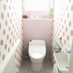 sayumiresoraさんの、バス/トイレ,アクセントクロス,ドット,リクシル,ドット壁紙,リクシルのトイレ,のお部屋写真