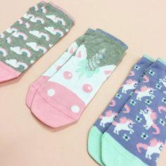 Unicorn trainer socks with glitter detail to cuff