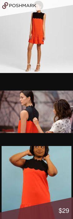 Victoria Beckham scalloped drop waist dress Size 3X. Button / tie back. Ruffled hem. Polyester, rayon, spandex. EUC Victoria Beckham for Target Dresses