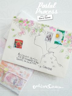 Mail day :: watercolors - beautiful illustrated envelope with pastel washi tape, love the sakura cherry blossom theme, so pretty!