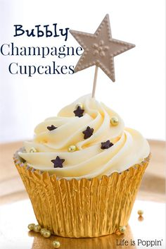 Let the party begin! And what better way than with these delicious Bubbly Champagne Cupcakes? I'm not one to go out and party, but I do like a nice cold glass of Champagne. This recipe combines 2 of my favorite things! Cupcakes and Champagne...