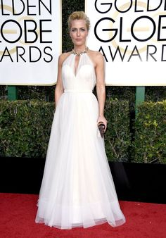 Golden Globes 2017: The Best Red Carpet Style - Gillian Anderson Wore A Floaty Naeem Khan And Styled Her Hair In An Up-Do