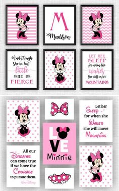 This type of photo is an extremely inspirational and impressive idea Minnie Mouse Baby Room, Mickey Minnie Mouse, Minnie Mouse Decorations, Mouse Crafts, Minnie Birthday, Toddler Rooms, Mini, Hobbies, Room Ideas