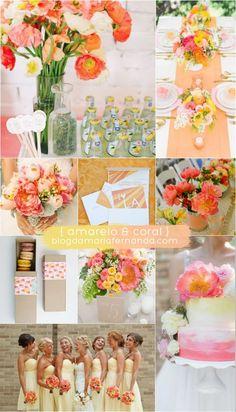 Decoração de Casamento : Paleta de Cores Amarelo e Coral | Blog de Casamento DIY da Maria Fernanda