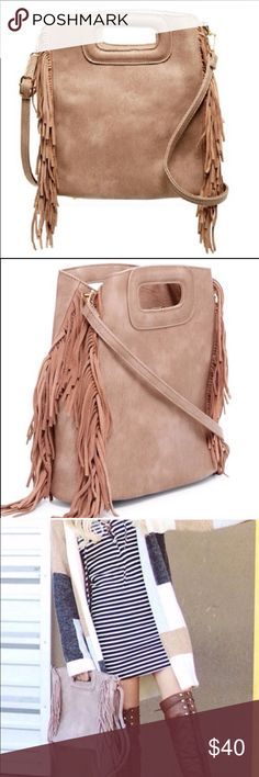"NWT Pink Haley Fringed Handbag 👜Cute as can be! Adorable all season taupe crossbody /satchel, this spunky bag will sauce up any outfit.  My favorite color of taupe: somewhere between brown and lilac. Gold hardware, vegan leather. 🦋 11x10x3.5"" Bags Crossbody Bags"