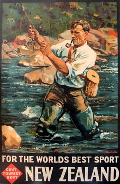 New Zealand Fly Fishing, 1936 - original vintage poster by Maurice Poulton