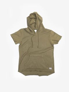 Flat front image of Reversed French Terry Pullover Raw-Cut Hoodie in Light Olive