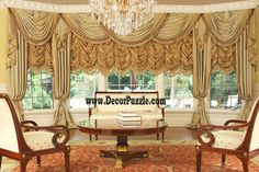 New catalogue of classic luxury curtains and luxury drapes 2018 with the best classic curtains designs and drapery designs 2018 for all rooms living room, kitchen, dining room, bedroom and bathroom curtain designs 2018 for luxury interior design Curtains And Draperies, Luxury Curtains, Cool Curtains, Beautiful Curtains, Valances, Curtains 2018, Orange Curtains, Lace Curtains, Window Curtains