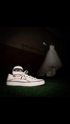 Bride's shoes. Baseball, rings, dress