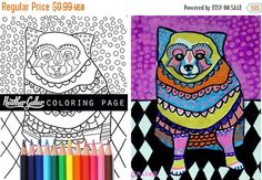 50% Off Today- Pomeranian coloring, coloring book, adult coloring book, coloring pages, coloring book for adults, printable coloring pages