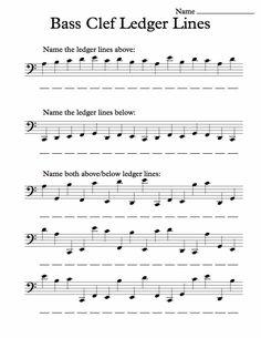 Bass Clef Ledger Lines – Worksheet